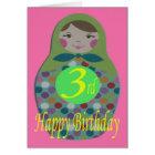 Russian Doll Happy 3rd Birthday Card