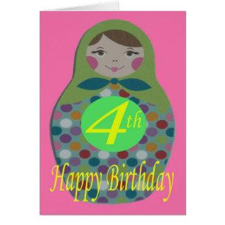 Russian Doll Happy 4th Birthday Card
