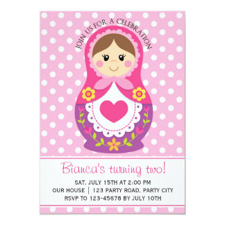 Russian Doll Invitation - Matryoshka Girl Birthday