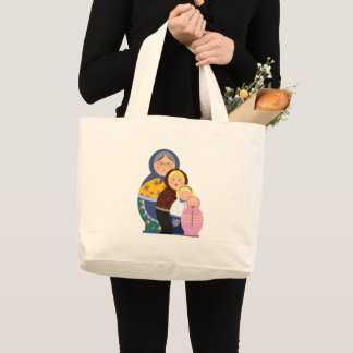 Russian Doll Matryoshka Life Stages Colorful Cute Large Tote Bag