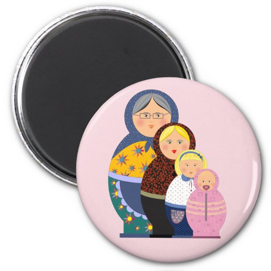 Russian Doll Matryoshka Life Stages Colourful Cute Magnet