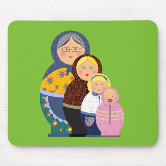 Russian Doll Matryoshka Life Stages Colourful Cute Mouse Pad