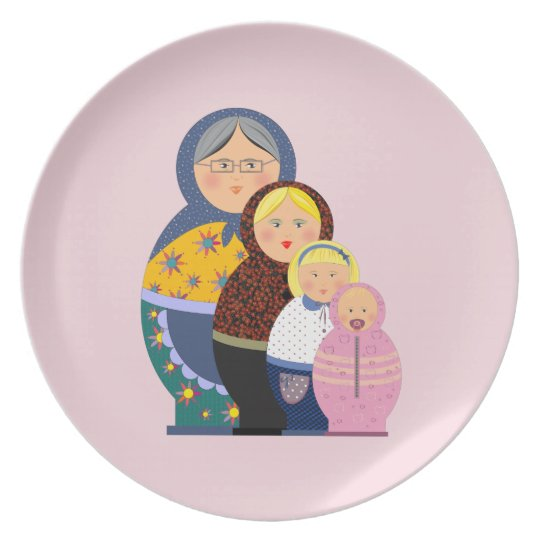 Russian Doll Matryoshka Life Stages Colourful Cute Plate