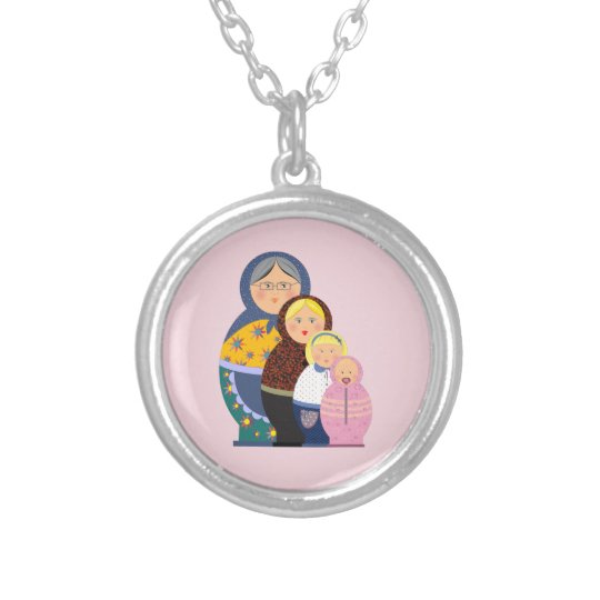 Russian Doll Matryoshka Life Stages Colourful Cute Silver Plated Necklace