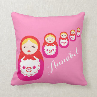 Russian dolls red pink custom name pillow
