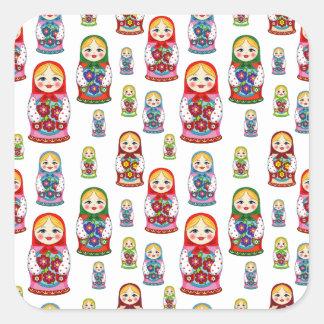 russian dolls square sticker