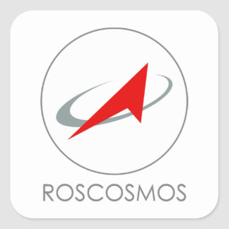 Russian Federal Space Agency: Roscosmos Роскосмос Square Sticker