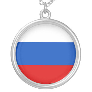 Russian Federation, Russia flag Silver Plated Necklace
