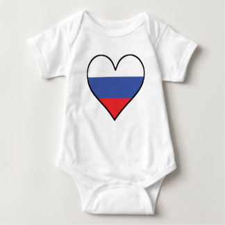 Russian Flag Heart Baby Bodysuit