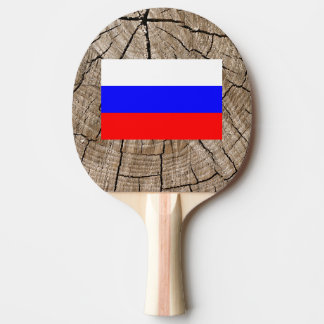 Russian flag on tree bark ping pong paddle