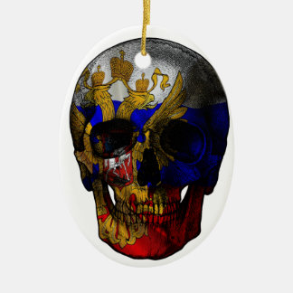 Russian flag skull ceramic oval ornament