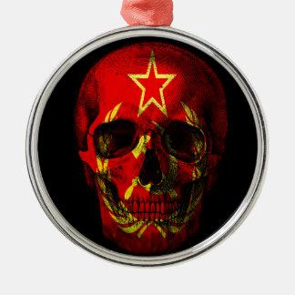 Russian flag skull Silver-Colored round ornament