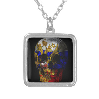 Russian flag skull silver plated necklace