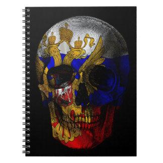 Russian flag skull spiral notebook