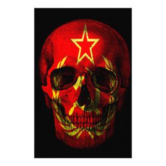 Russian flag skull stationery