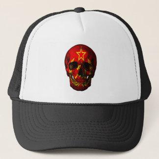 Russian flag skull trucker hat
