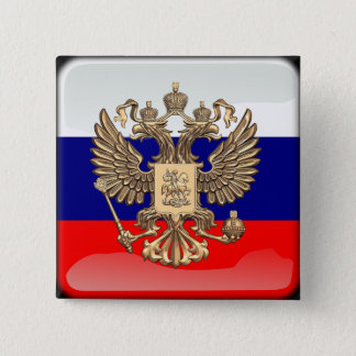 Russian glossy flag 2 inch square button