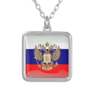 Russian glossy flag silver plated necklace