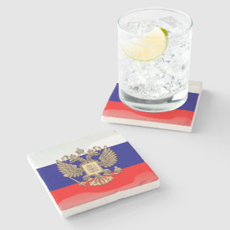 Russian glossy flag stone beverage coaster