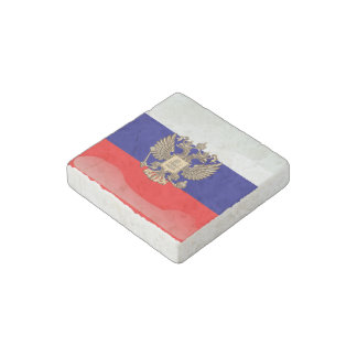 Russian glossy flag stone magnets