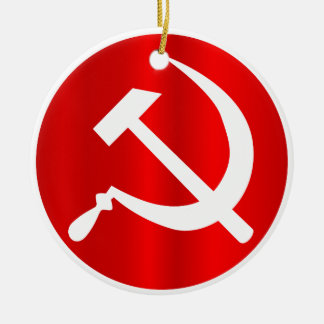 Russian Hammer and Sickle Ceramic Ornament