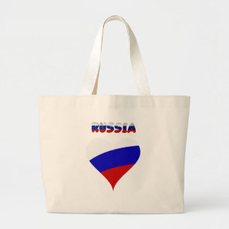 Russian heart flag large tote bag