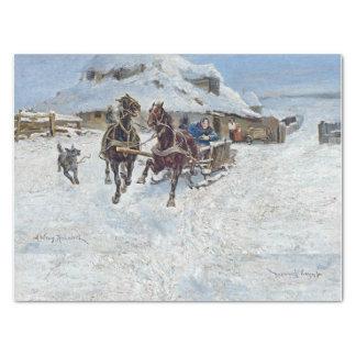 Russian Horse Sleigh Snow Winter Tissue Paper