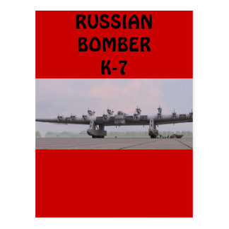 RUSSIAN K-7 BOMBER POSTCARD