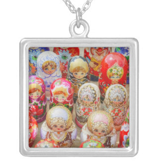 Russian Nested Dolls Silver Plated Necklace