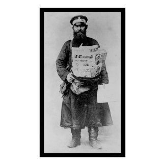 Russian Newspaper Seller 1909 Poster