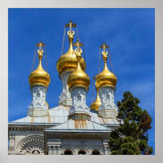 Russian or orthodox church, Geneva, Switzerland Poster