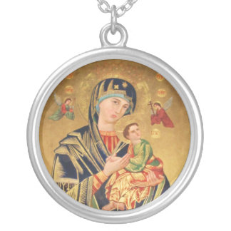 Russian Orthodox Icon - Virgin Mary and baby Silver Plated Necklace