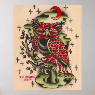 Russian Owl Tattoo Design Poster