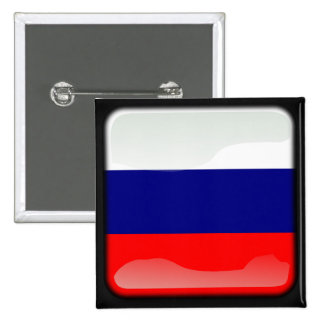Russian polished flag 2 inch square button