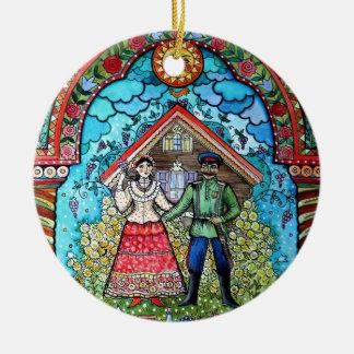 Russian Round Ceramic Ornament