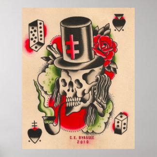 Russian Smoking Skull Poster