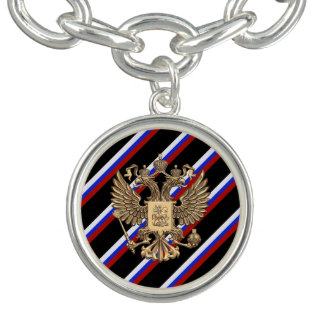 Russian stripes flag charm bracelet