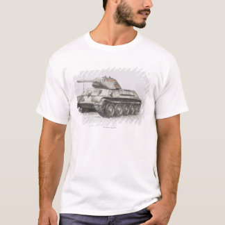 Russian T-34 army tank, side view. T-Shirt