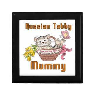 Russian Tabby Cat Mom Jewelry Boxes