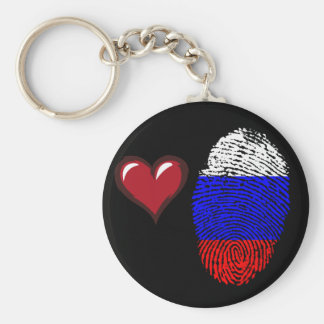 Russian touch fingerprint flag basic round button keychain