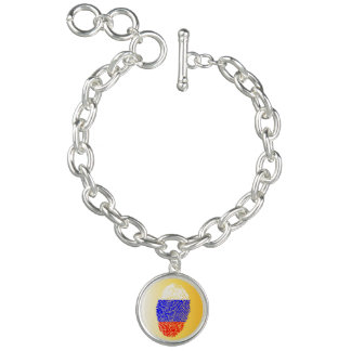 Russian touch fingerprint flag charm bracelets