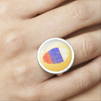 Russian touch fingerprint flag photo rings