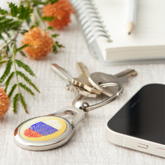 Russian touch fingerprint flag Silver-Colored oval keychain