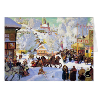 Russian Village in the Winter Card