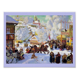 Russian Village in the Winter Poster
