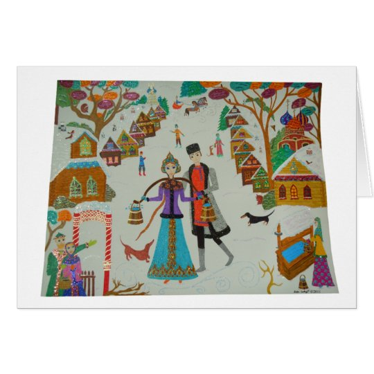 Russian Village in Winter Card
