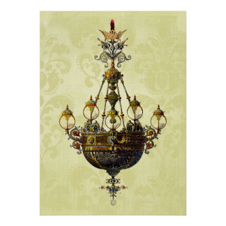 Russian Vintage Antique Chandelier Poster