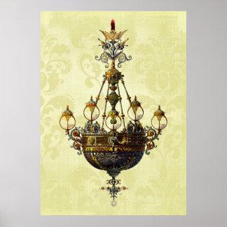 Russian Vintage Antique Chandelier Print