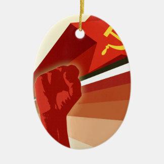 Russian Vintage Communist Propaganda Ceramic Oval Ornament