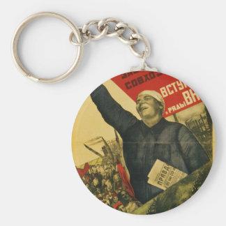 Russian Vintage Communist Propaganda Poster Basic Round Button Keychain